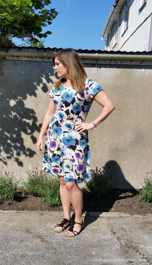 Dixie DIY Ballet dress in blue and purple floral jersey